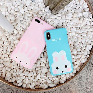 Apple iPhone Bunny Cover Soft ( Pink And Blue)