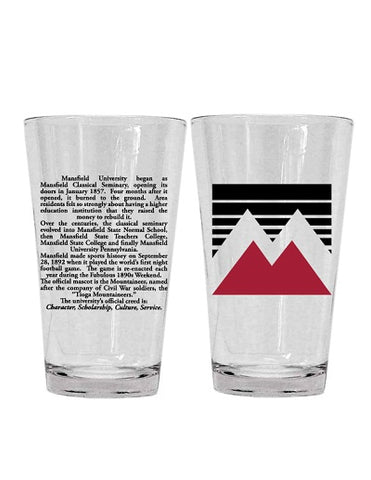 16OZ MIXER GLASS W/ACADEMIC LOGO AND MU HISTORY