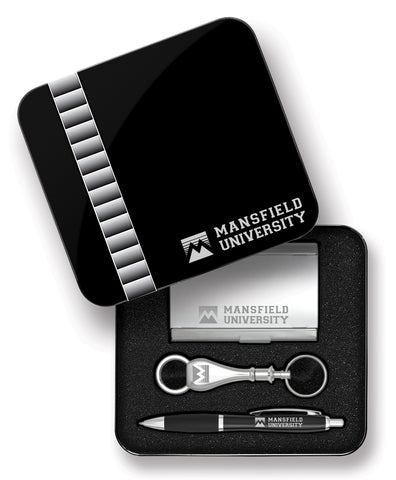 CLICK ACTION PEN/BUSINESS CARD/SEPARATING KEY FOB GIFT SET