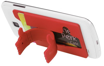 ADHESIVE CELL PHONE WALLET W/STAND