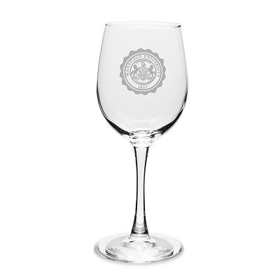 CLEAR STEMMED WINE GLASS W/ETCHED SEAL
