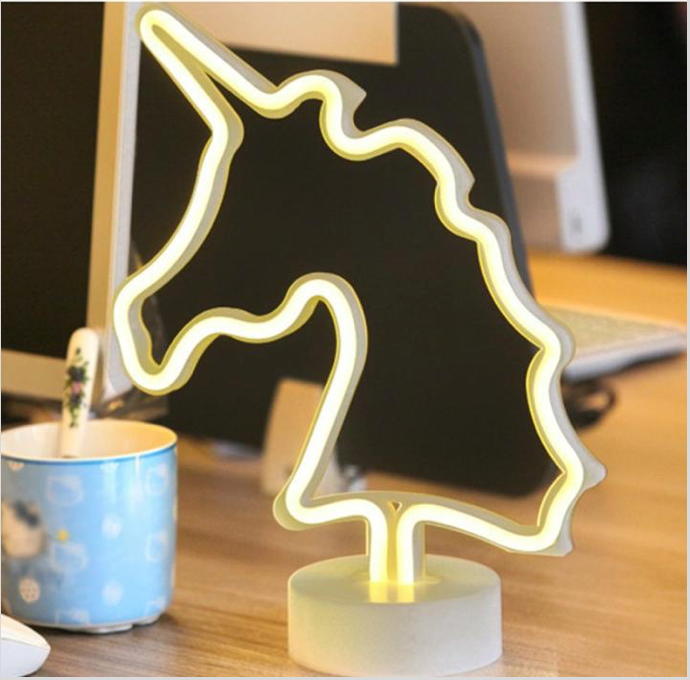Gold Unicorn Neon LED Desk Light