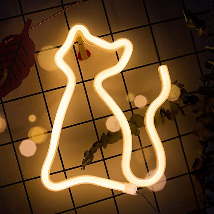 Gold Cat Neon LED Wall Light