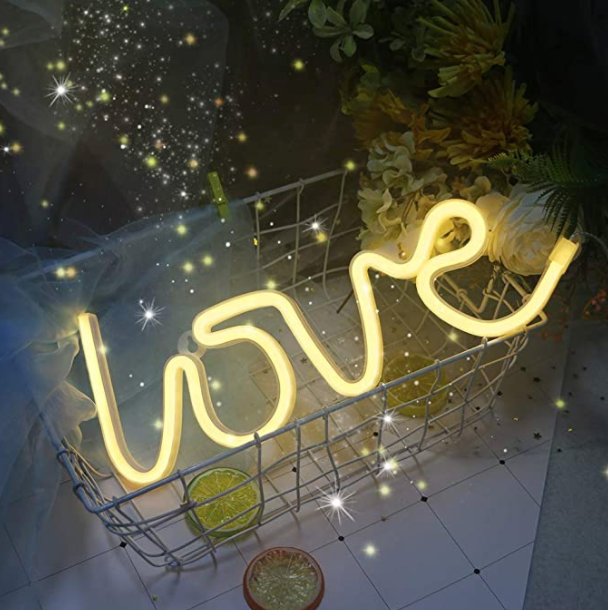 Gold Love Neon LED Wall Light