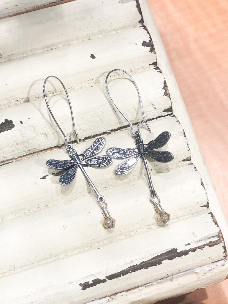 Coast2Coast Taupe Dragonfly Dangle Earrings