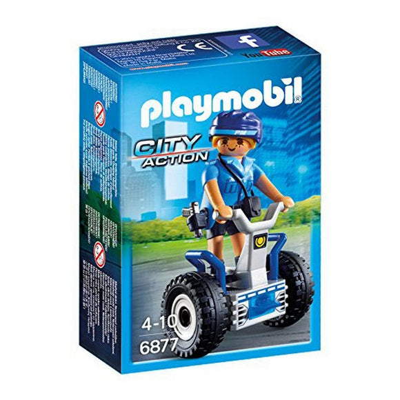 Action figure City Action Police Balance Racer Playmobil 6877 Blue