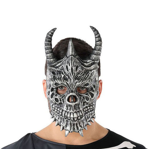 Mask Halloween Male demon Skeleton Grey (20 X 33 cm)