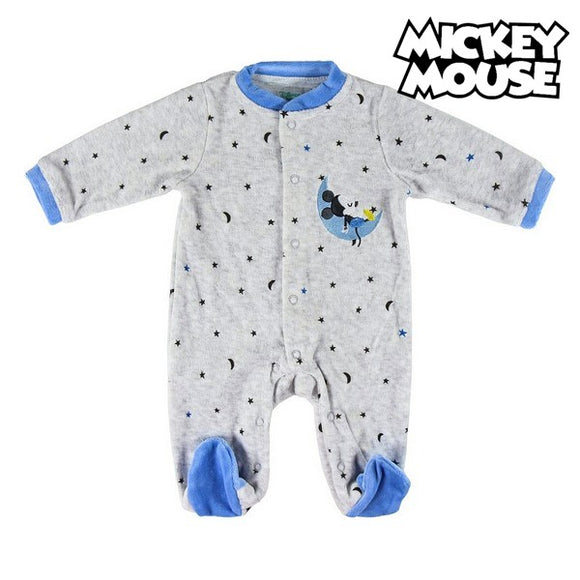 Baby's Long-sleeved Romper Suit Mickey Mouse 74611 Grey Blue