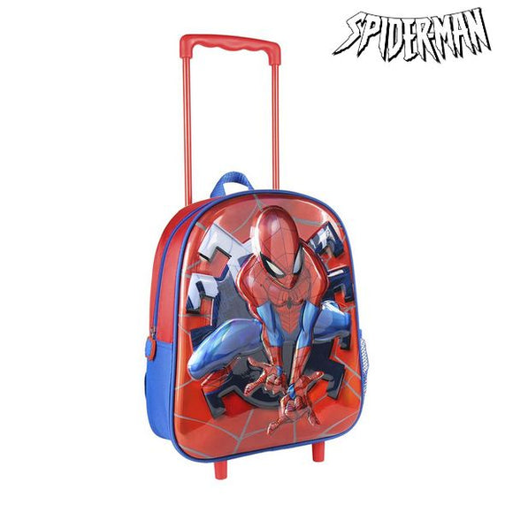 3D School Bag with Wheels Spiderman Red Blue