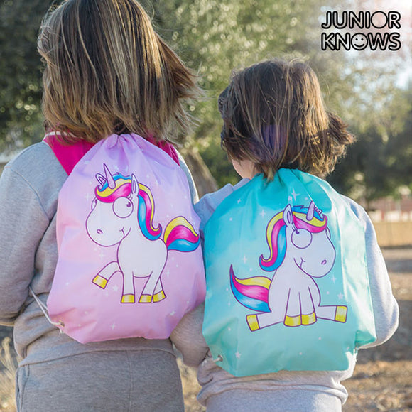 Junior Knows Unicorn backpack with cord ties