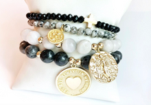 Load image into Gallery viewer, Stud Muffin 8mm white agate + gold filled guardian angel