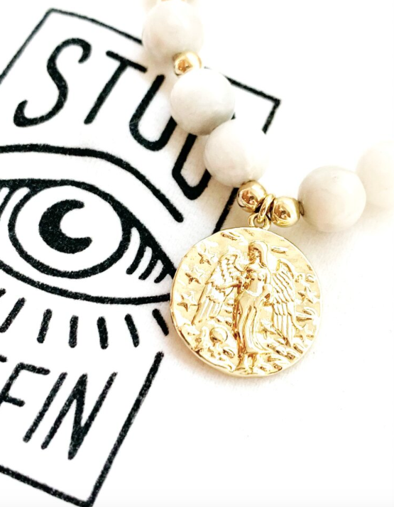 Stud Muffin 8mm white agate + gold filled guardian angel
