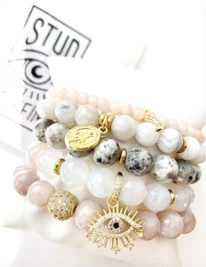 Stud Muffin 10mm faceted agate + gold-plated starburst eye
