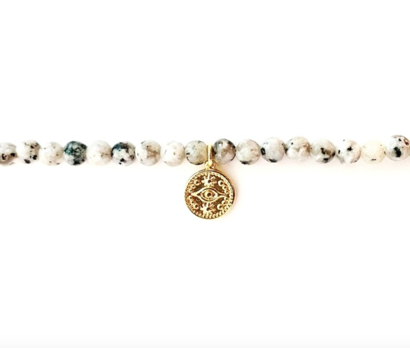 Stud Muffin 4mm sesame jasper + gold - filled evil eye