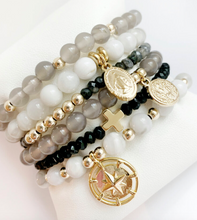 Load image into Gallery viewer, Stud Muffin 6mm grey agate + 14k gold filled beads