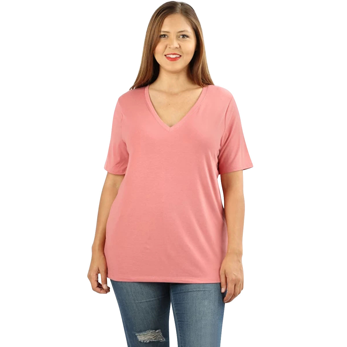 Lavra Women's Plus Size Soft Casual V-Neck Short Sleeve Tee