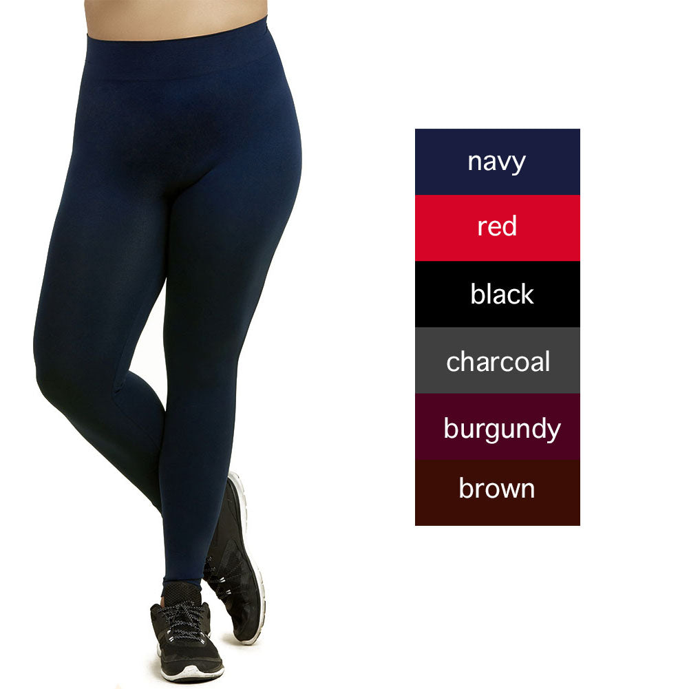 Womens Plus Size Solid Nylon Full Length Leggings