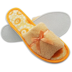 Lavra Women's Plush Terry Cloth Cozy Open Toe Slippers