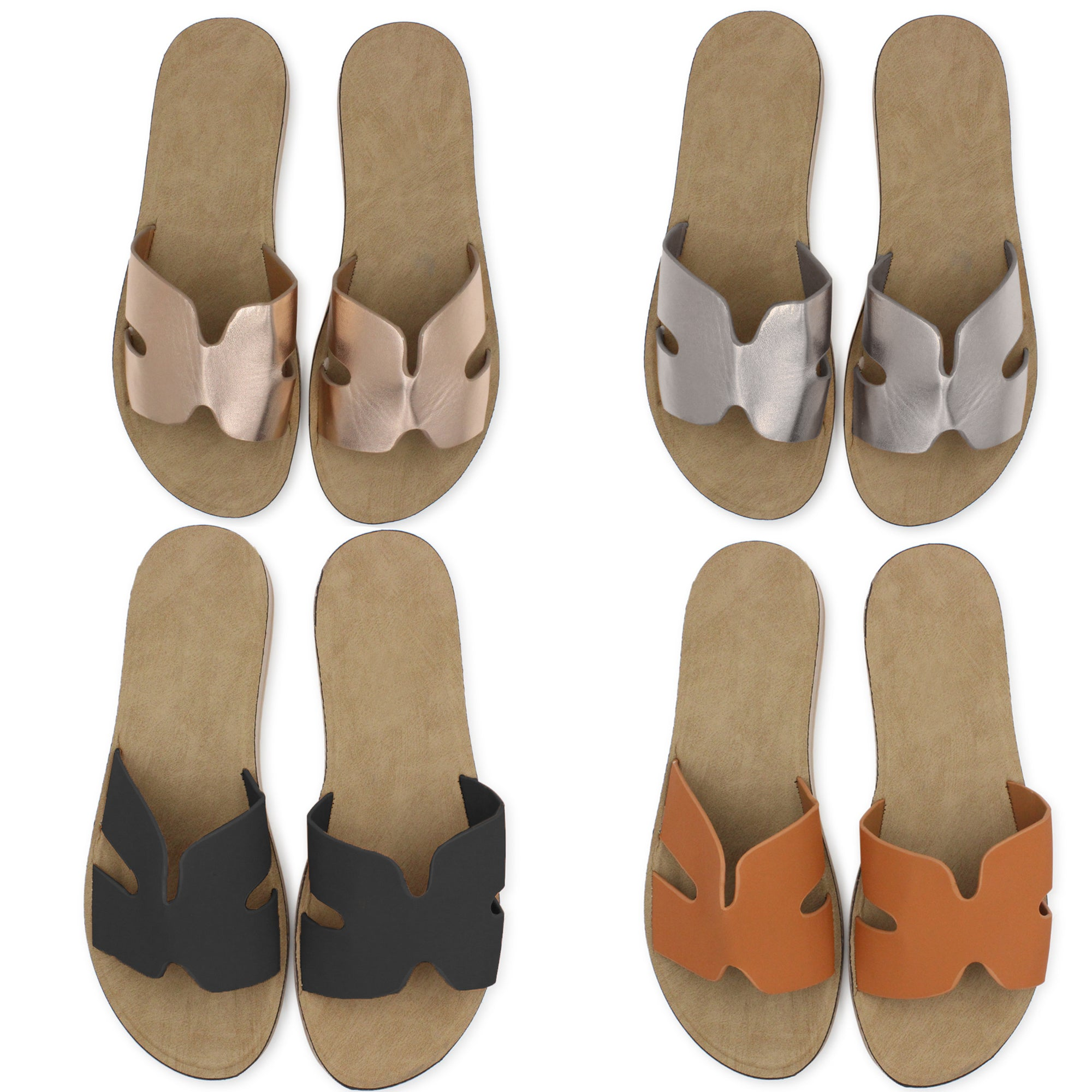 Women's Leather Comfort Slip On Sandals