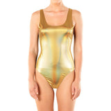 Women's Chrome Metallic Shiny Bodysuit Top