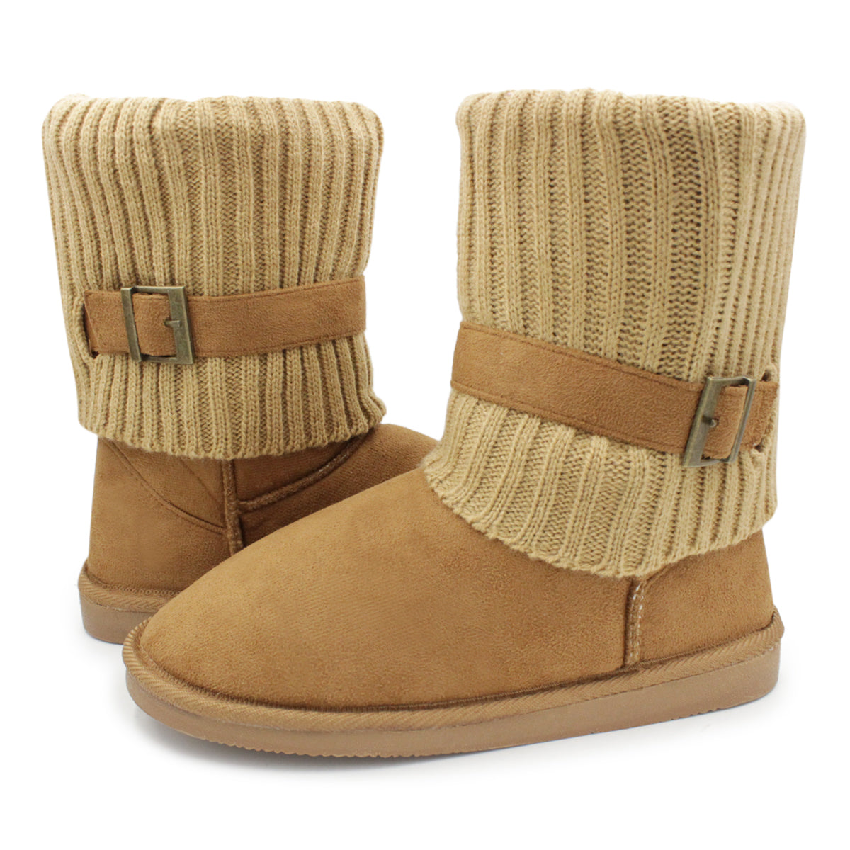 Women's Warm Winter Knit Fold Over Suede Ankle Boots with Buckle