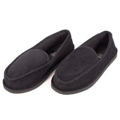 Men's Casual Black Corduroy Slippers