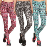 Women's Plus Size Printed Stretch Pants Active Leggings