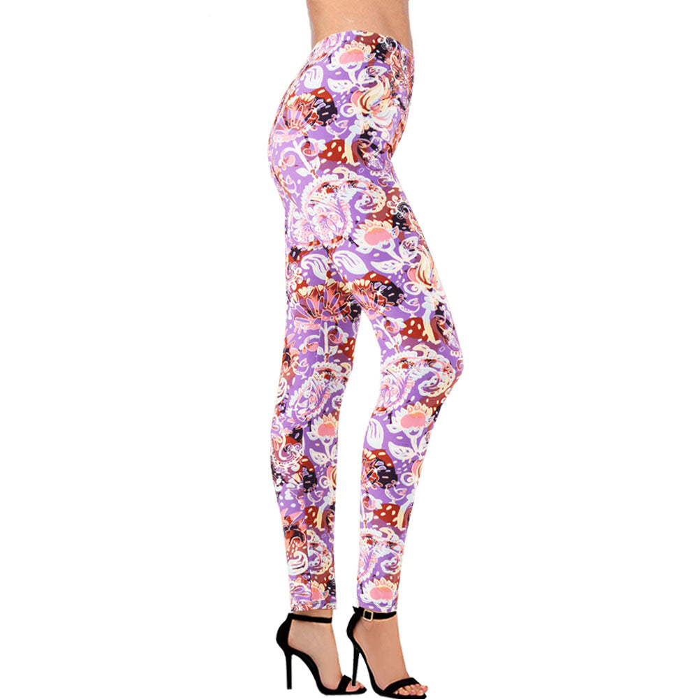Women's Regular Size Floral Print Leggings