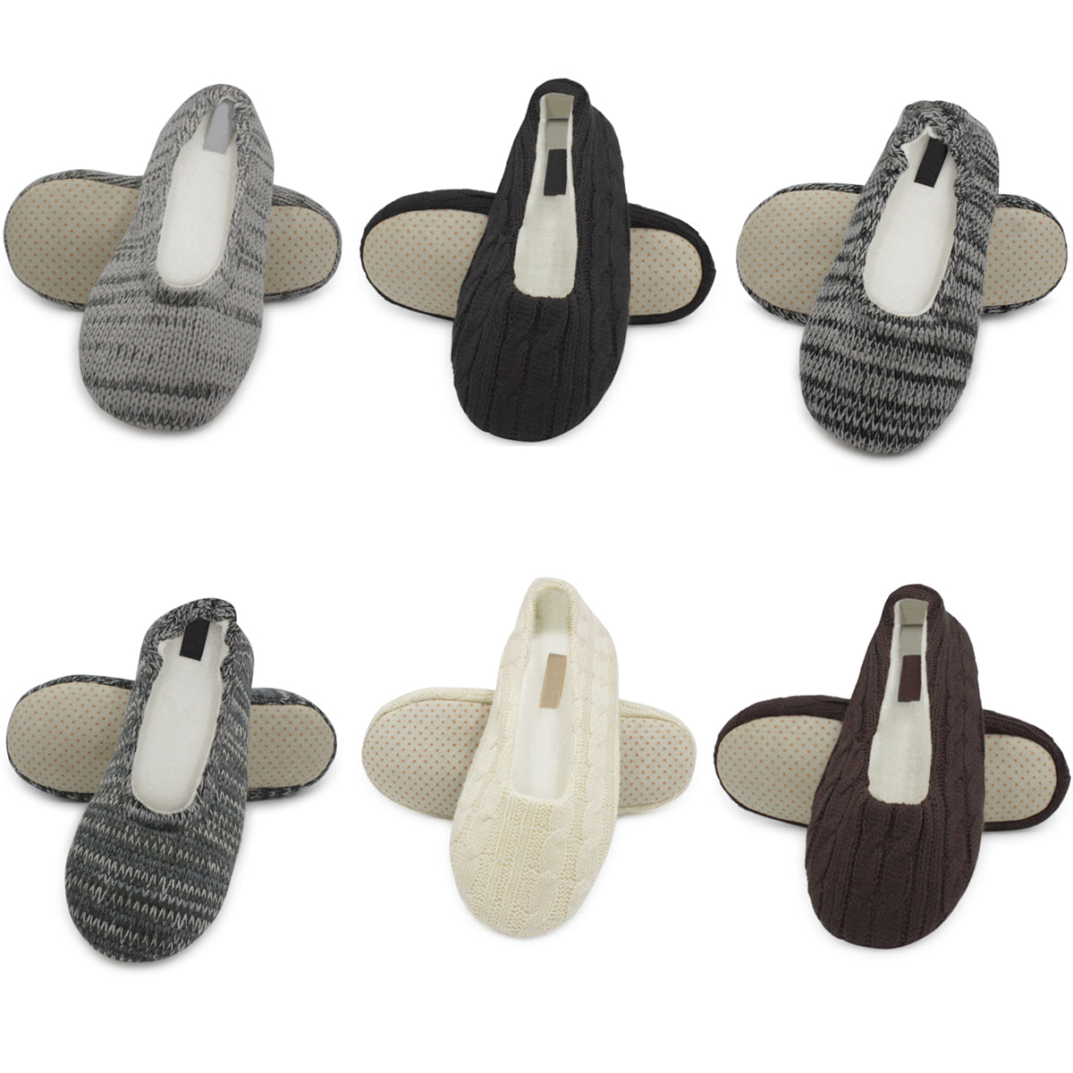 Women's Cable Knit Slip On House Slippers