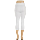 Women's Plus Size Capri Cropped Solid Color Leggings
