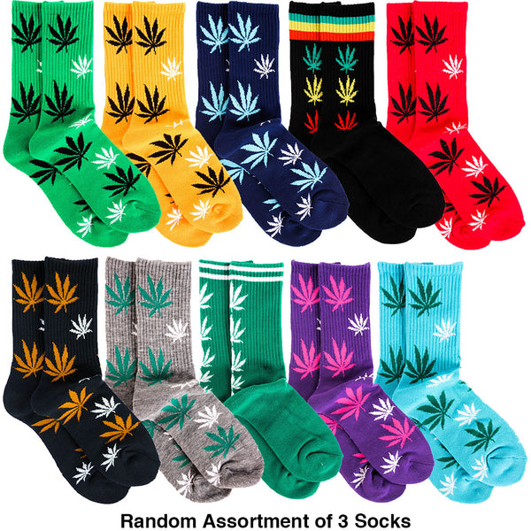 Men's 3 Pairs of Marijuana Weed Leaf Printed Socks