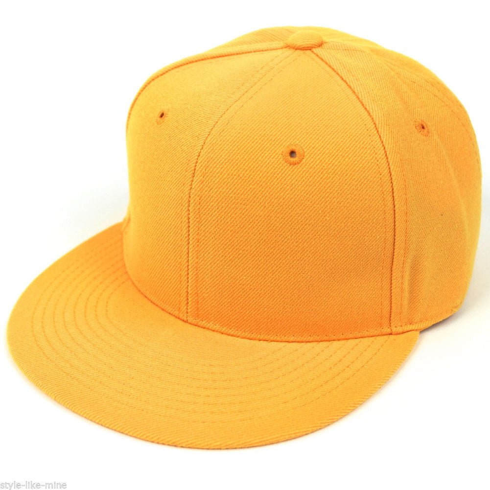 Men's Flat Bill Blank Fitted Baseball Hat