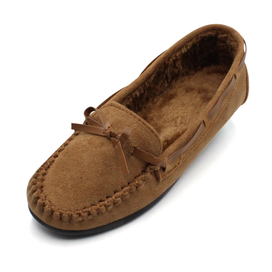 Women's Suede Fur Lined Moccasin Comfort Slippers