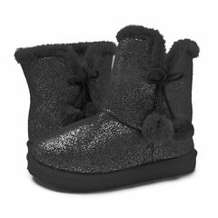LAVRA Girls Sparkle Fur Boots Glitter Mid Calf Bootie Knit Bowtie Warm Shoes