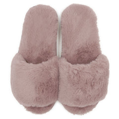 LAVRA Women's Faux Fur Slides Fuzzy Plush Slip On Soft Sole Cushioning Open Toe Shoes
