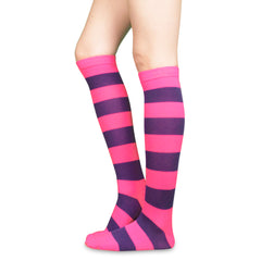 Women's Pair of Knee High Rainbow Striped Socks