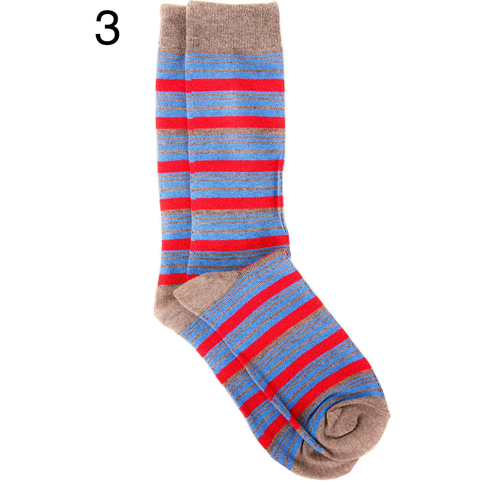 Men's Stripes and Argyle Colorful Print Dress Socks