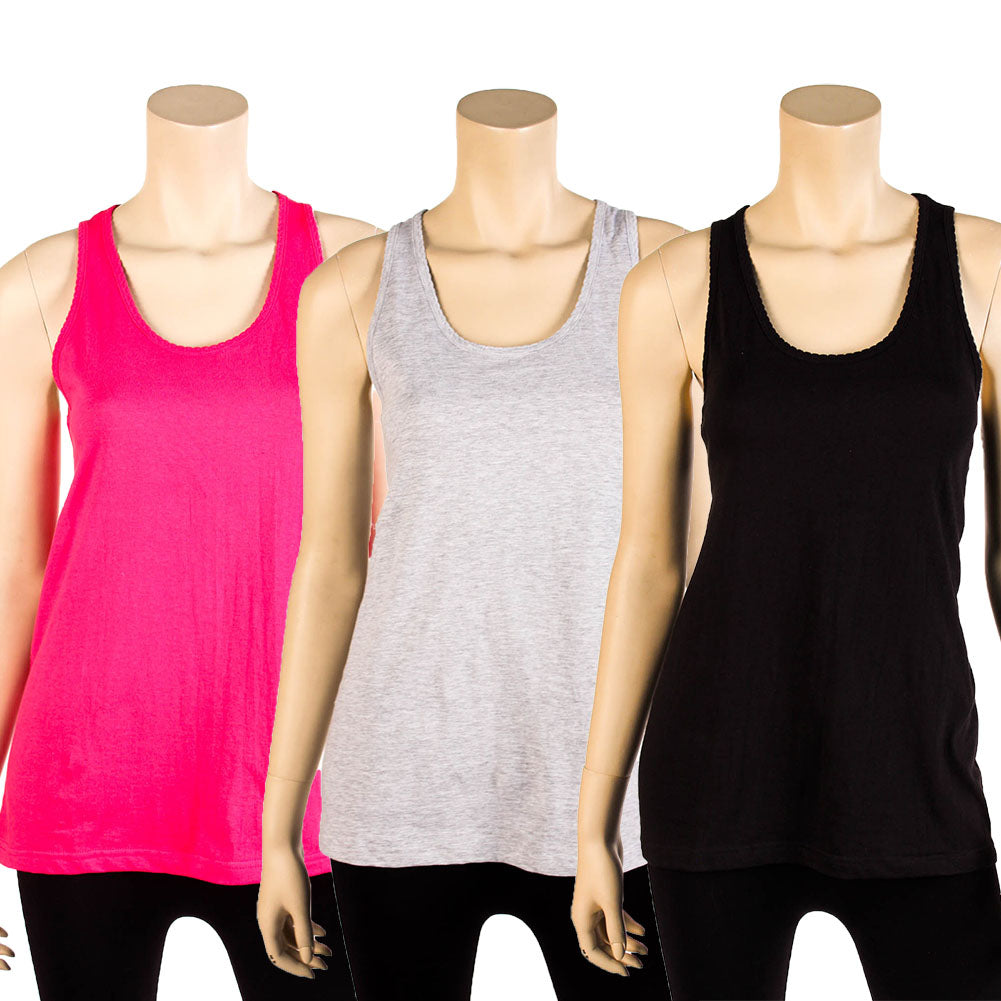 Women's Loose Fit Scalloped Tank Top