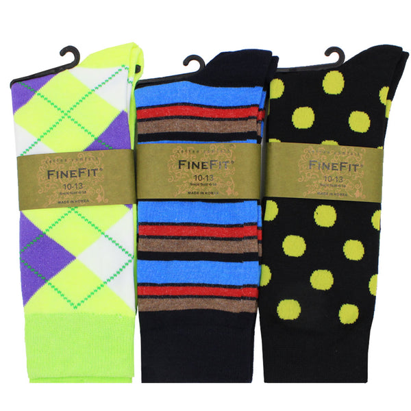 Men's 3 Pair of Print Dress Socks