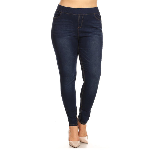 LAVRA Women's True Plus Size Jegging High Waist Jeans Full Length Denim Leggings with Pockets