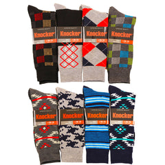 Men's 4 Pairs of Colorful Fashion Pattern Dress Socks
