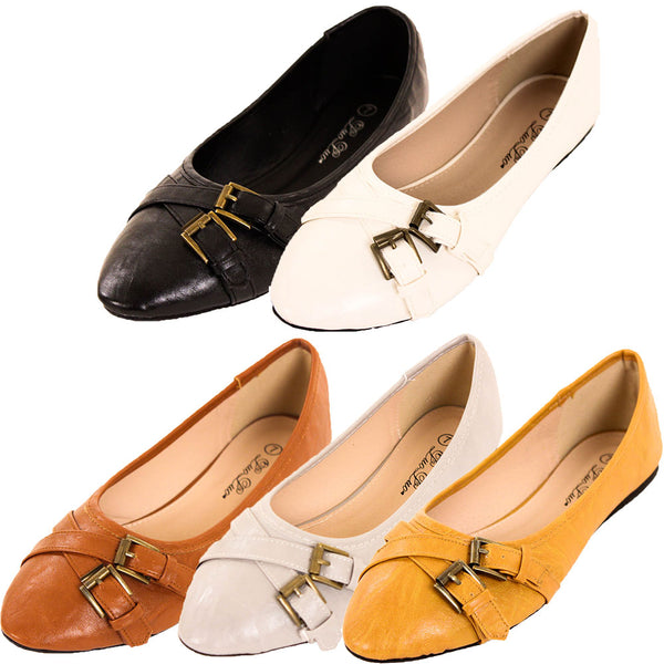 Women's Faux Leather Buckle Slip On Ballet Flats Shoes