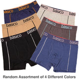 Men's 4 Pack of 100% Cotton Color Boxer Briefs