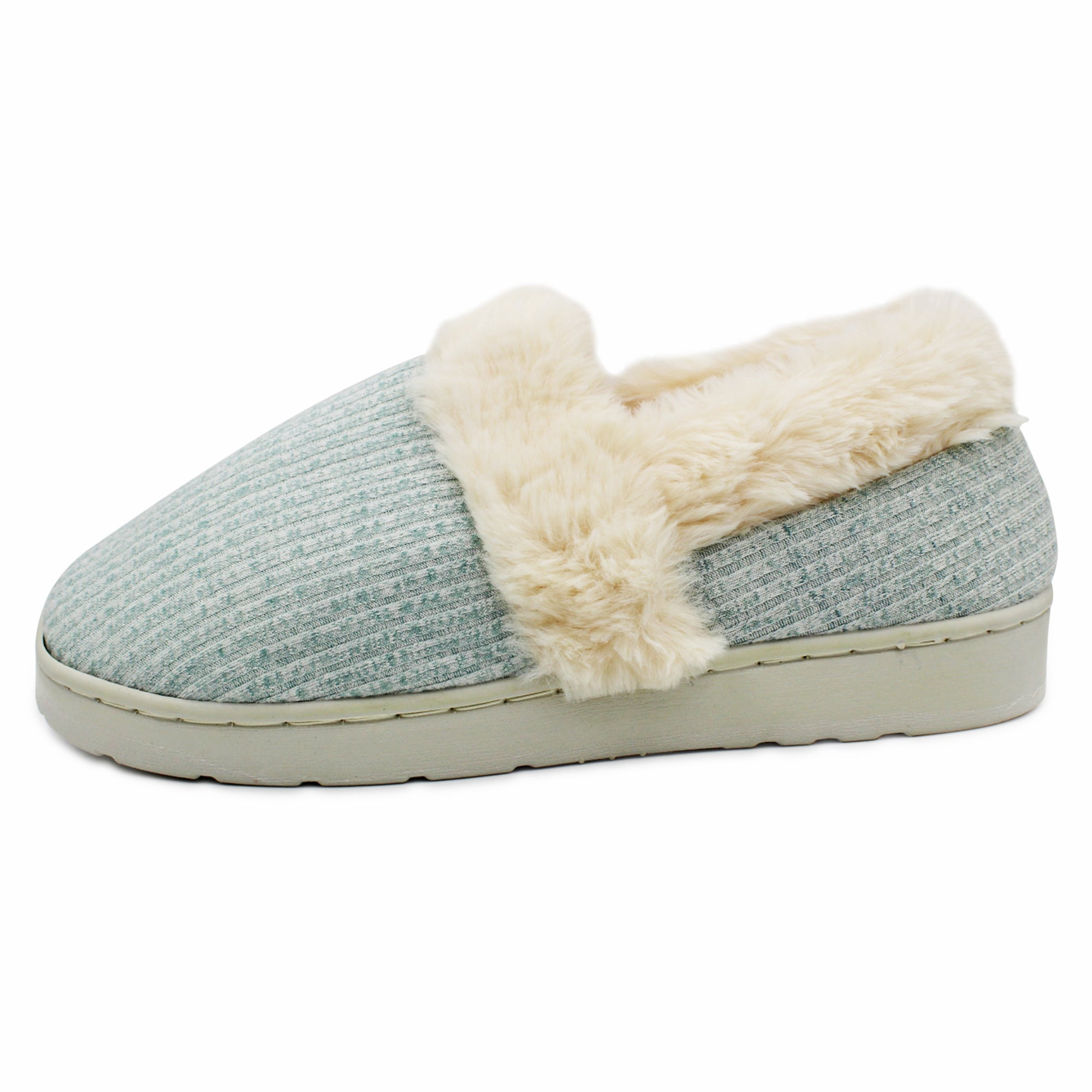 LAVRA Women's Fur Trimmed Slipper Rib Knit Slip On Cozy Closed Back Slipper Moccasin House Shoes