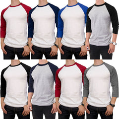 Men's 100% Cotton 3/4 Length Sleeve Raglan Baseball T-Shirt