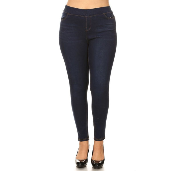 LAVRA Women's Plus Size Fleece Lined Jeans High Waisted Jeggings with Pockets