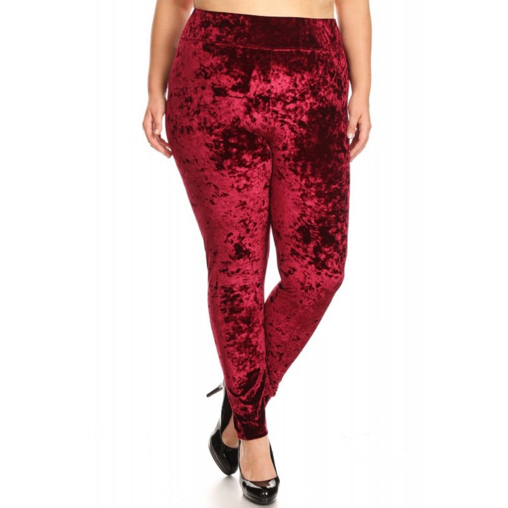 Women's Plus Size Crushed Velvet High Waisted Leggings