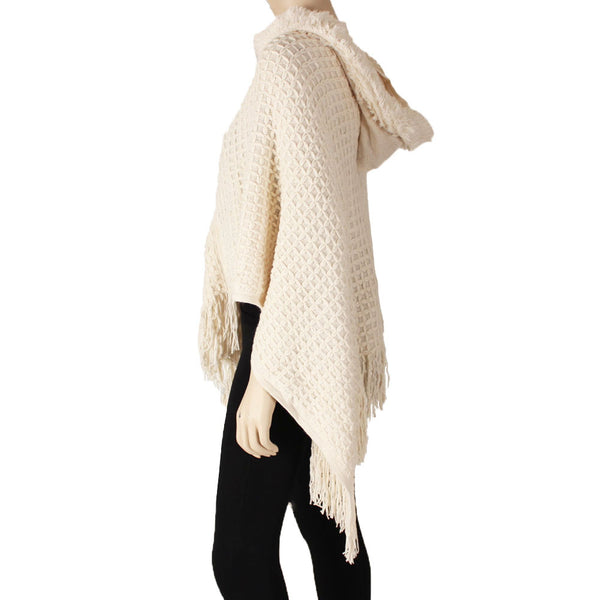 Women's Hooded Poncho Shawl Knitted Cape