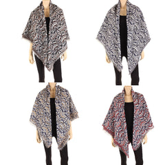 Women's Reversible Poncho Scarf Shawl Cape