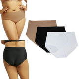 Women's 3 Pack Plus Size Seamless Laser Cut High Waist Brief Panties